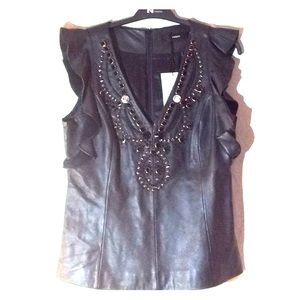 Uterque, leather sleeveless black top